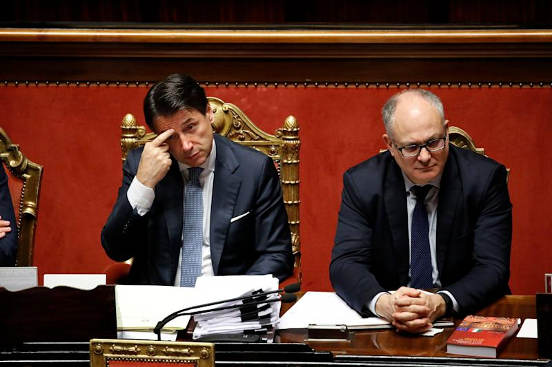 President of the Council of Ministers of the Italian Republic Giuseppe Conte and Italian politician Roberto Gualtieri during his briefing on the changes to the Treaty on the European Stability Mechanism in the Senate Chamber. Rome (Italy), December 2nd, 2019 (photo by Massimo Di Vita/Archivio Massimo Di Vita/Mondadori Portfolio via Getty Images) (Photo: Mondadori Portfolio via Getty Images)