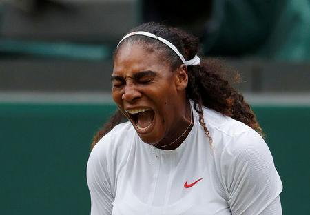 Serena Williams of the U.S. reacts during her second round match against Bulgaria's Viktoriya Tomova. REUTERS/Andrew Couldridge