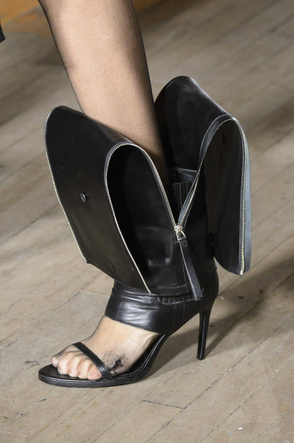 <p><i>Leather zip-down heels from the SS18 Helmut Lang collection. (Photo: ImaxTree) </i></p>