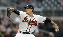 Atlanta Braves pitcher Max Fried works against the Toronto Blue Jays during the first inning of a baseball game Wednesday, May 12, 2021, in Atlanta. (AP Photo/Ben Margot)