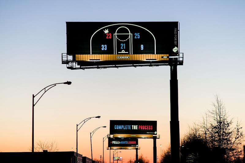 a9bc8192bd4 LeBron James urged to switch to Philadelphia 76ers via three billboards in  Cleveland