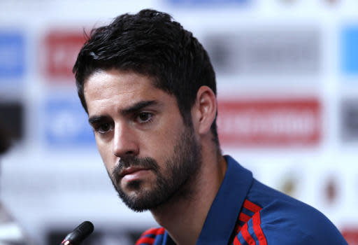 Spain's Isco listens to a question during a press conference of Spain at the 2018 soccer World Cup in Krasnodar, Russia, Monday, June 18, 2018. (AP Photo/Manu Fernandez)