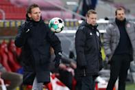 Julian Nagelsmann (L) is in his second season as coach of RB Leipzig