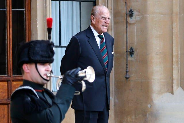 The Duke of Edinburgh at Windsor Castle during a ceremony for the transfer of the Colonel-in-Chief of the Rifles from the duke to the Duchess of Cornwall