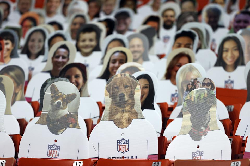 LANDOVER, MARYLAND - JANUARY 09:  Cardboard cutouts of fans and dogs are seen in the stands during the game between the Tampa Bay Buccaneers and the Washington Football Team at FedExField on January 09, 2021 in Landover, Maryland. (Photo by Patrick Smith/Getty Images)