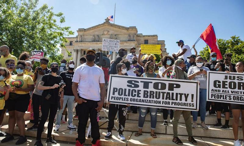 Protesters rally against the death in Minneapolis police custody of George Floyd, in Newark, New Jersey, on Saturday. The event passed off largely peacefully.