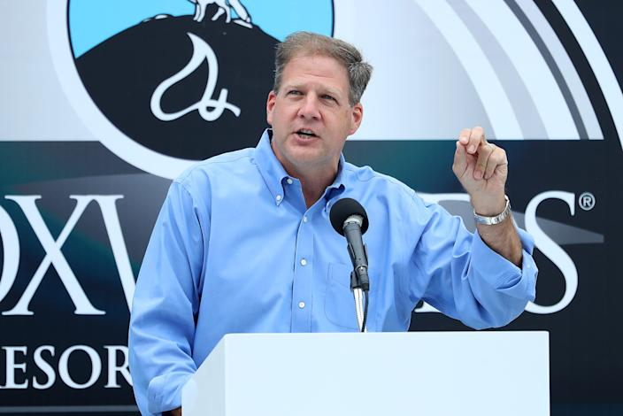 New Hampshire Governor Chris Sununu speaks on stage prior to the NASCAR Cup Series Foxwoods Resort Casino 301 at New Hampshire Motor Speedway on August 2, 2020, in Loudon, New Hampshire.
