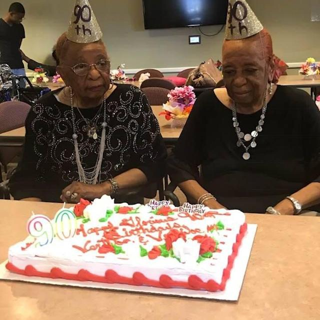 """<span class=""""s1"""">Vertibe<span>Atherton, left, and Versibe Williams</span></span>have won over the internet with their 90th birthday dance routine. (Photo: Courtesy of Michelle Wright Folarin)"""