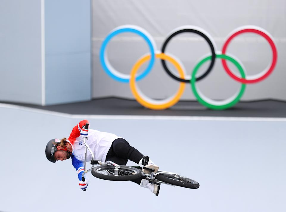 <p>Anthony Jeanjean of France jumps while prepares for the race prior to the Women's BMX Freestyle seeding event on day eight of the Tokyo 2020 Olympic Games at Ariake Urban Sports Park on July 31, 2021 in Tokyo, Japan. (Photo by Laurence Griffiths/Getty Images)</p>