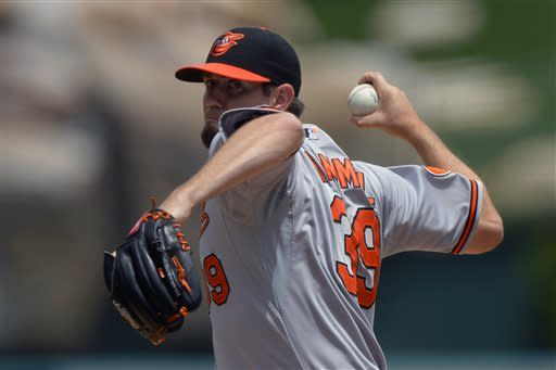 Baltimore Orioles starting pitcher Jason Hammel throws to the plate during the first inning of their baseball game against the Los Angeles Angels, Sunday, May 5, 2013, in Anaheim, Calif. (AP Photo/Mark J. Terrill)