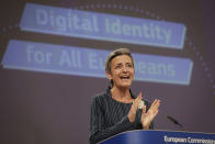 European Commissioner for Europe fit for the Digital Age Margrethe Vestager speaks during a media conference at EU headquarters in Brussels, Thursday, June 3, 2021. The European Union unveiled plans Thursday for a digital ID wallet that residents can use to access services across the bloc, in an effort to accelerate the shift to online for its post-pandemic recovery strategy. (Stephanie Lecocq, Pool via AP)