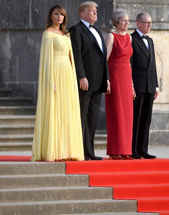 """<h1 class=""""title"""">Donald Trump visit to UK</h1> <div class=""""caption""""> Melania Trump at the state dinner with President Donald Trump and Prime Minister Theresa May </div> <cite class=""""credit"""">Stefan Rousseau - PA Images</cite>"""