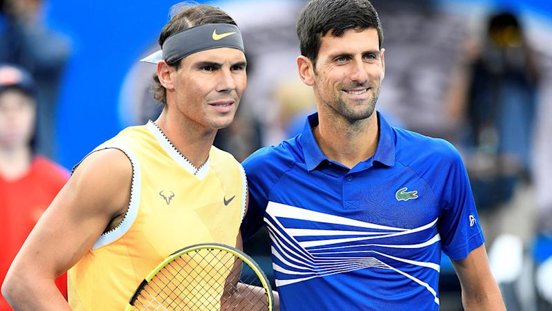 Novak Djokovic and Rafael Nadal, pictured here before the 2019 Australian Open final.