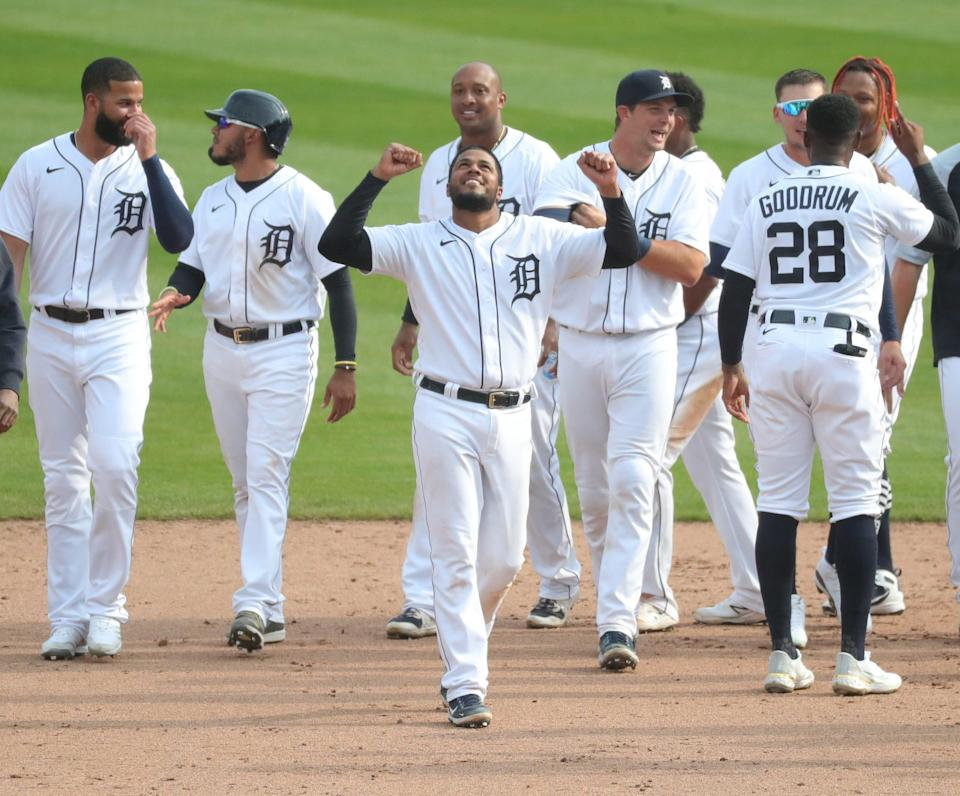 Tigers third baseman Jeimer Candelario celebrates after the 10th inning of the Tigers' 4-3 win on Tuesday, April 6, 2021 at Comerica Park.