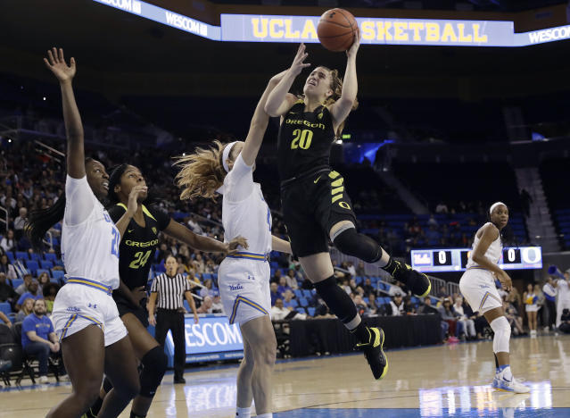 Oregon guard Sabrina Ionescu (20) shoots against UCLA during the first half of an NCAA college basketball game Sunday, Jan. 13, 2019, in Los Angeles. (AP Photo/Marcio Jose Sanchez)