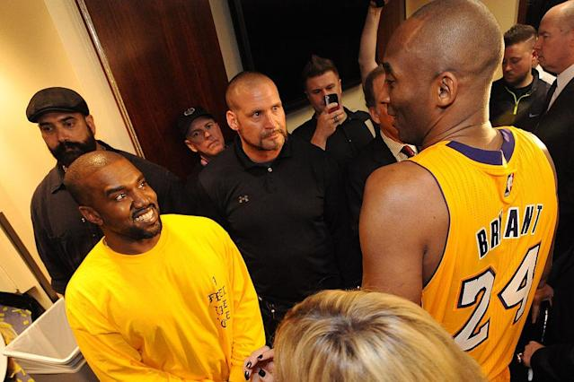 "Kanye West attended Kobe Bryant's last game for the <a class=""link rapid-noclick-resp"" href=""/nba/teams/lal"" data-ylk=""slk:Los Angeles Lakers"">Los Angeles Lakers</a> in 2016. (Getty Images)"