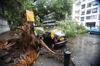 A view of a tree fell on vehicles due to strong winds triggered by Cyclone Nisarga in Mumbai, India on June 03, 2020. A storm in the Arabian Sea off India's west coast intensified into a severe cyclone on Wednesday, gathering speed as it barreled toward India's financial capital of Mumbai. Nisarga was forecast to drop heavy rains and winds gusting up to 120 kilometers (75 miles) per hour when it makes landfall Wednesday afternoon as a category 4 cyclone near the coastal city of Alibagh, about 98 kilometers (60 miles) south of Mumbai, India's Meteorological Department said. (Photo by Imtiyaz Shaikh/Anadolu Agency via Getty Images)