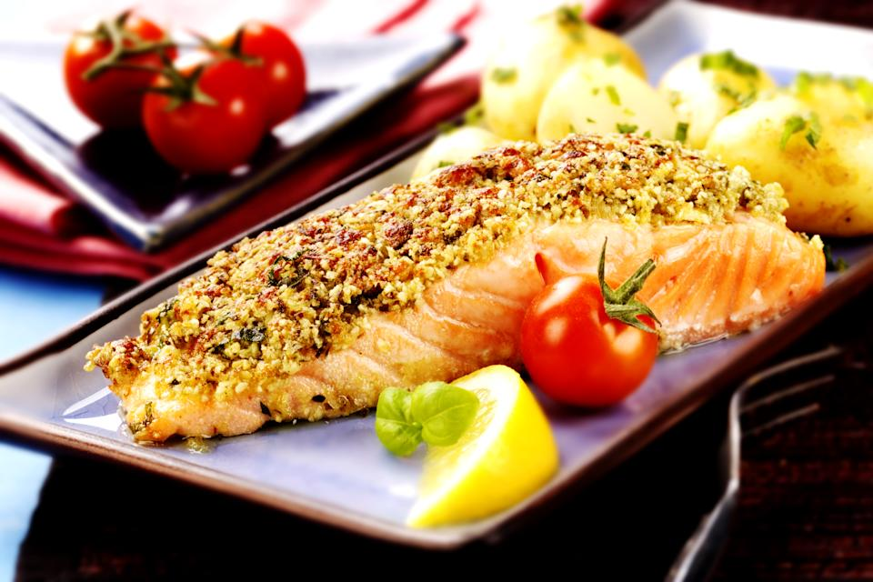 Baked salmon with a pesto crust (Getty)