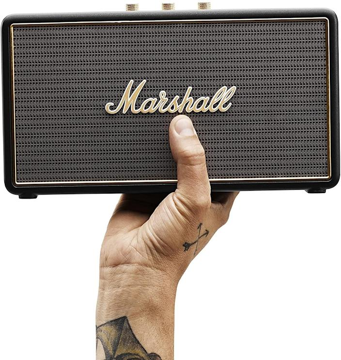 <p>They can enjoy their music on the road with this sleek <span>Marshall Stockwell Portable Bluetooth Speaker</span> ($220).</p>