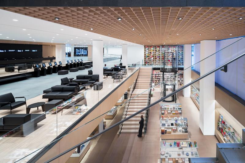 MoMA's bookstore was relocated to a spectacular subterranean space visible from the lobby and 53rd Street.