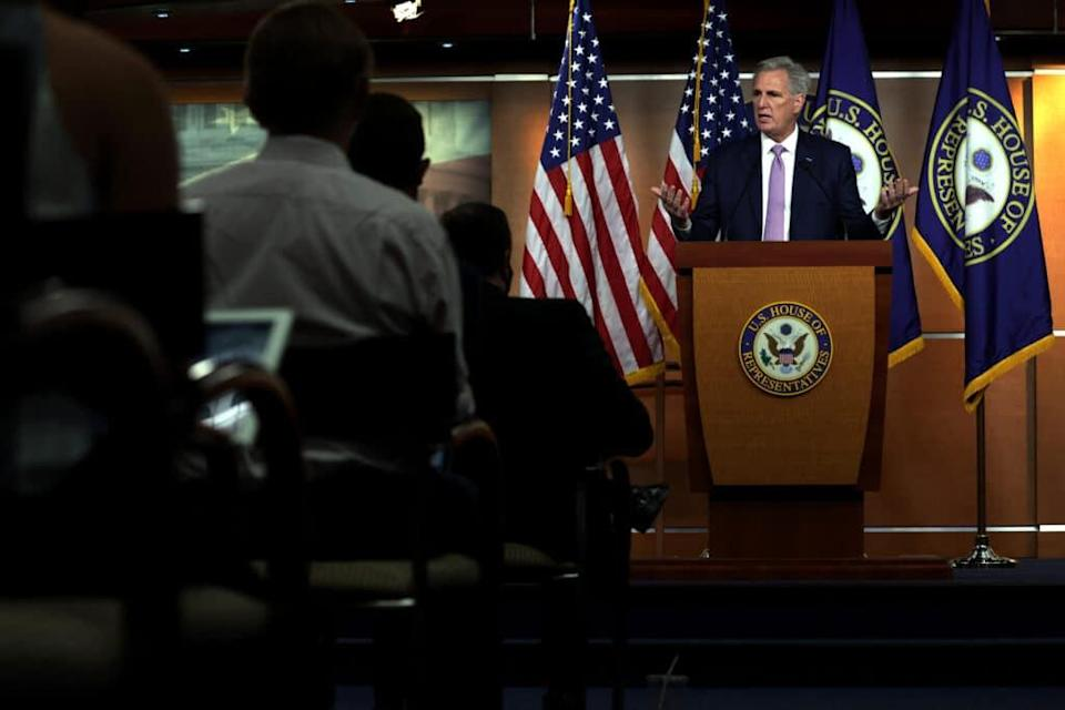 Kevin McCarthy speaks during a weekly news conference. (Alex Wong/Getty Images)