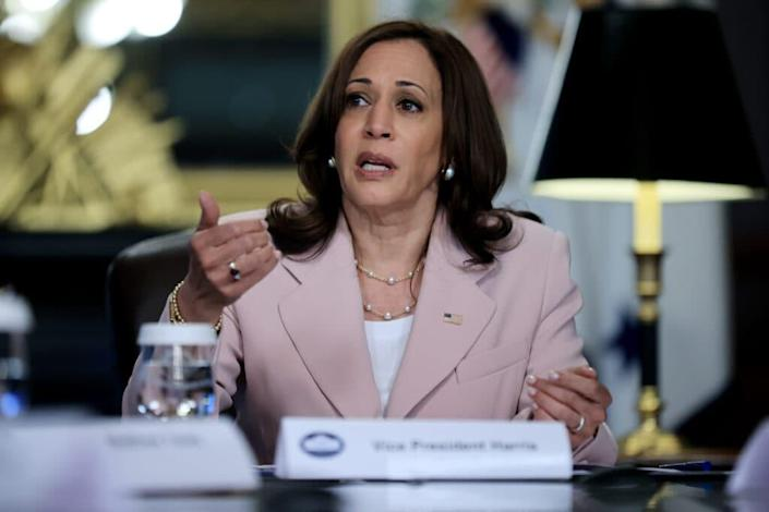 U.S. Vice President Kamala Harris delivers remarks at the start of a disability voting roundtable in her ceremonial office at the Eisenhower Executive Office Building on July 14, 2021 in Washington, DC.  (Photo by Chip Somodevilla / Getty Images)