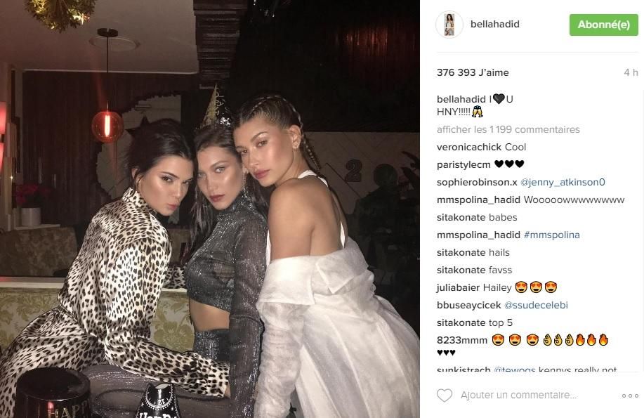 The youngest of the Hadid sisters rang in the New Year in true star style, partying alongside other models of the moment, including her two sidekicks, Kendall Jenner and Hailey Baldwin. Glamorous garb and poses were naturally the order of the day. Account: www.instagram.com/bellahadid