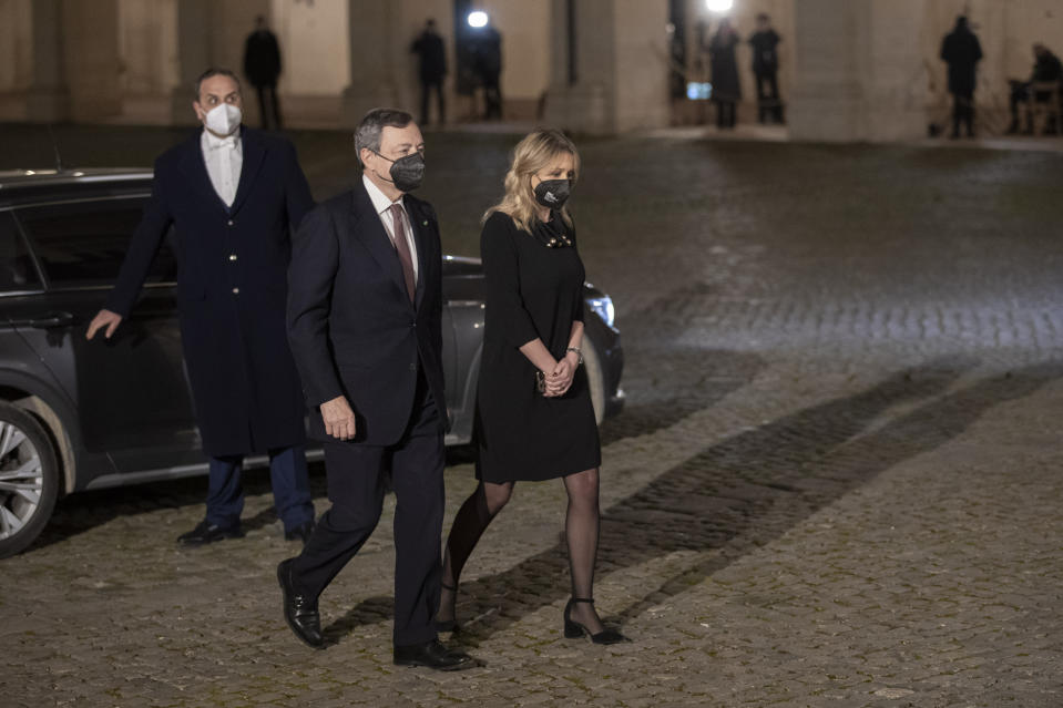 Former European Central Bank President Mario Draghi arrives at the Quirinale presidential palace for talks with Italian President Sergio Mattarella, in Rome, Friday, Feb. 12, 2021. Draghi has secured pledges of backing from nearly every party in the Italian Parliament as he wrapped up political consultations aimed at giving the pandemic-ravaged nation a new government. (AP Photo/Andrew Medichini)