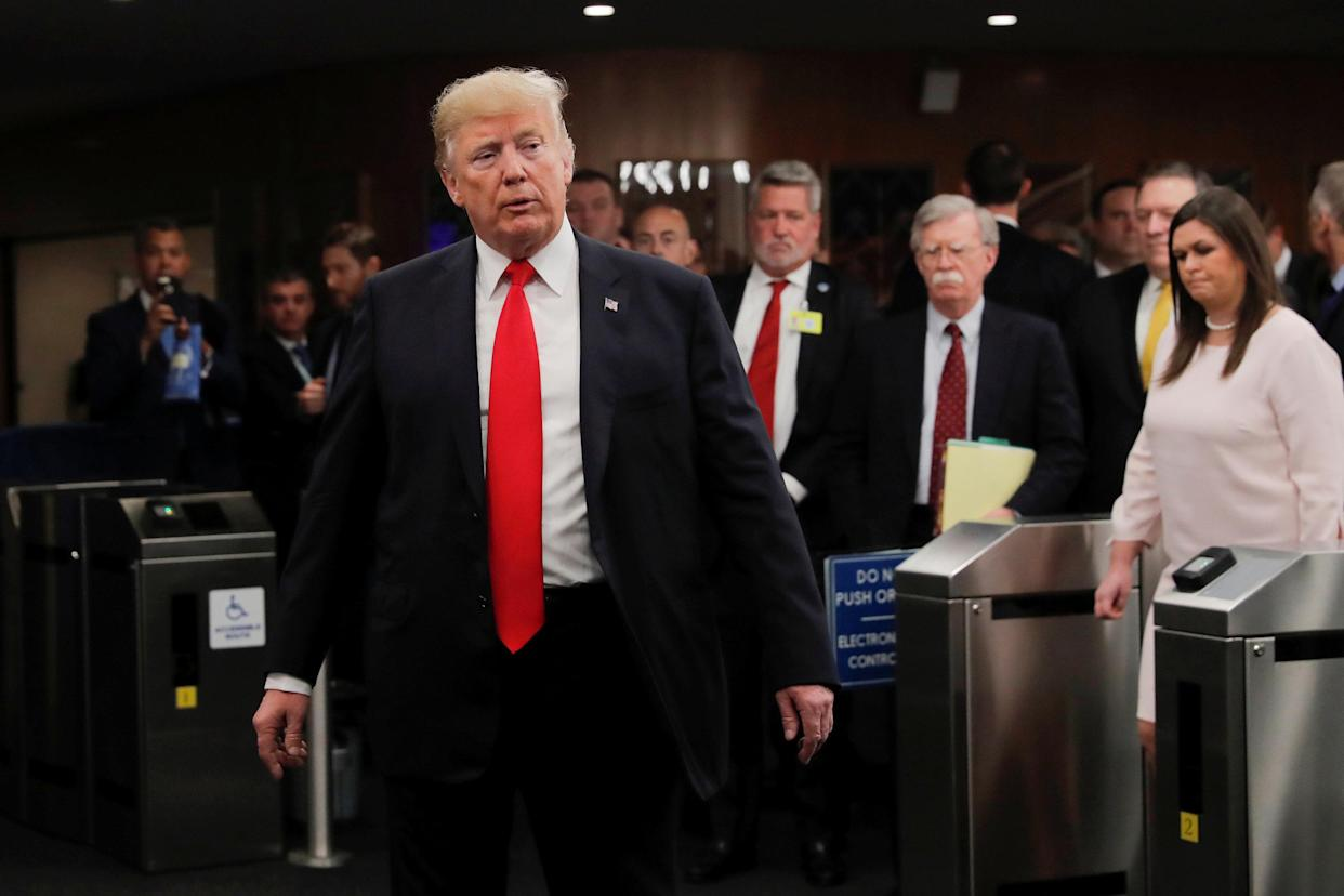 President Trump speaks to reporters after arriving at the United Nations headquarters on Monday. (Photo: Caitlin Ochs/Reuters)