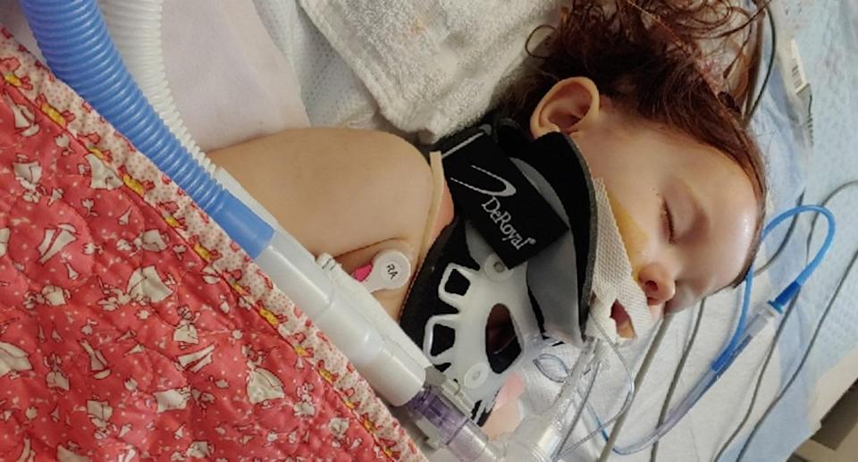 Ariel Salaices, 2, is fighting for her life in intensive care after she was mysteriously shot in the back of the head by a stray bullet in her backyard. Source: GoFundMe