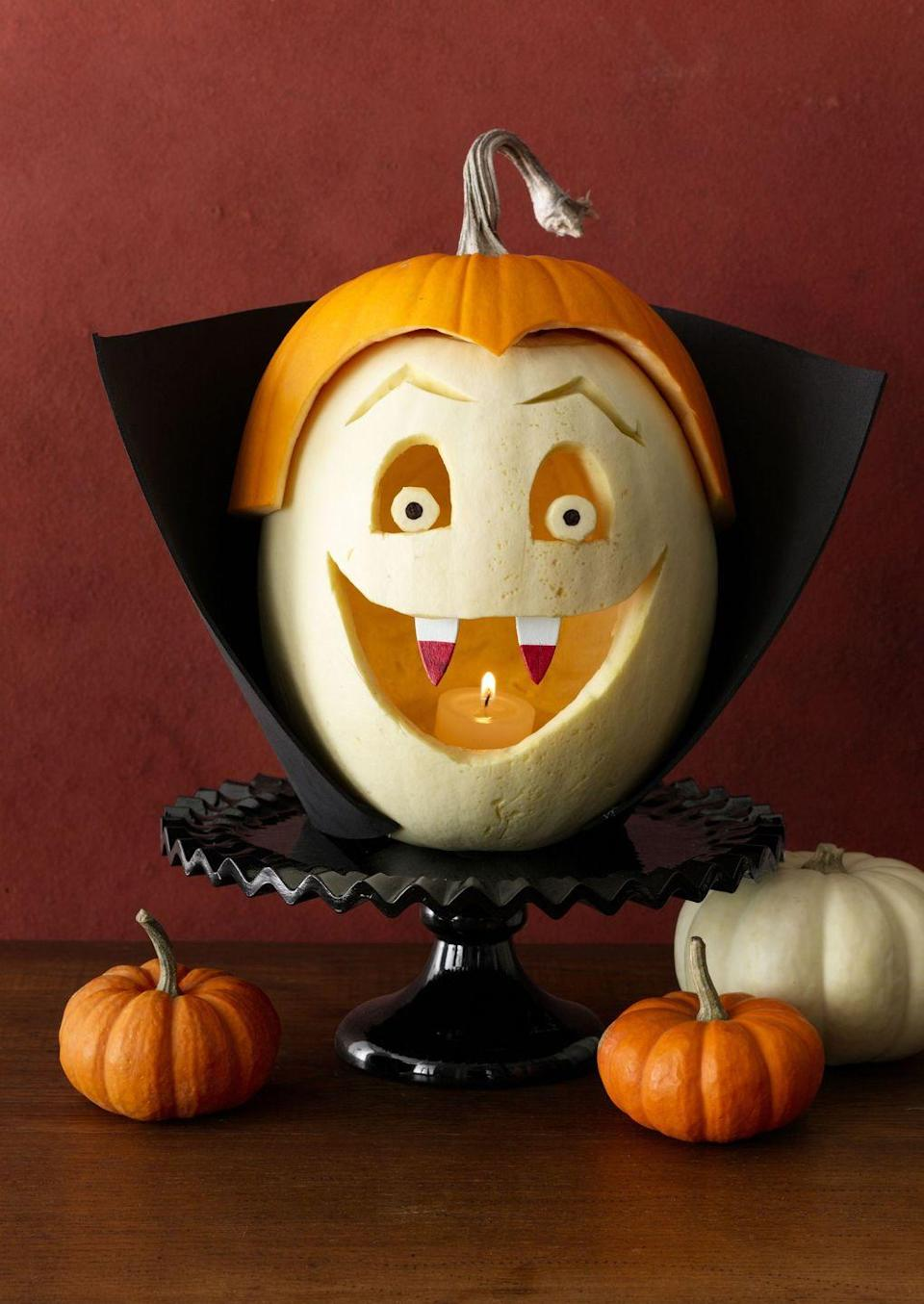<p>No bloodthirsty monsters here. Yes, he's got a set of fangs, but what's not to love about this adorable Dracula face? Exactly. <br></p>