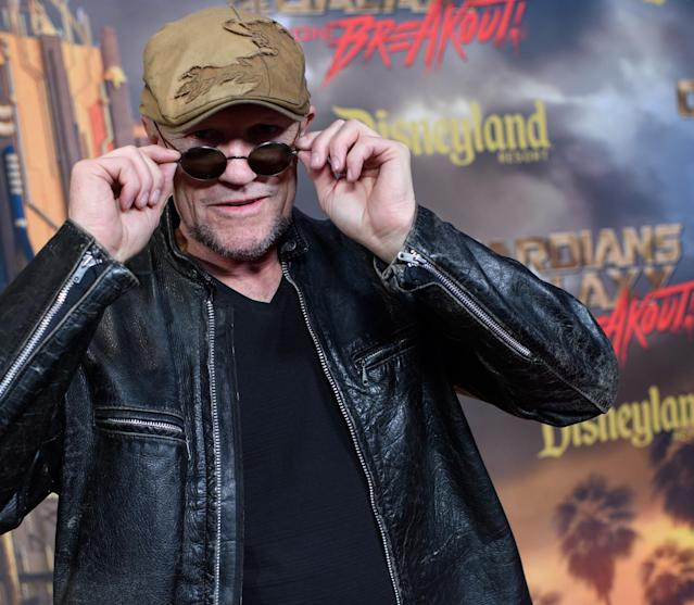 <p>Yondu lives! Fresh off his heroic sacrifice in <em>Vol. 2</em>, Rooker seems none the worse for wear at the Mission: Breakout! opening. (Photo: Disneyland Resort) </p>
