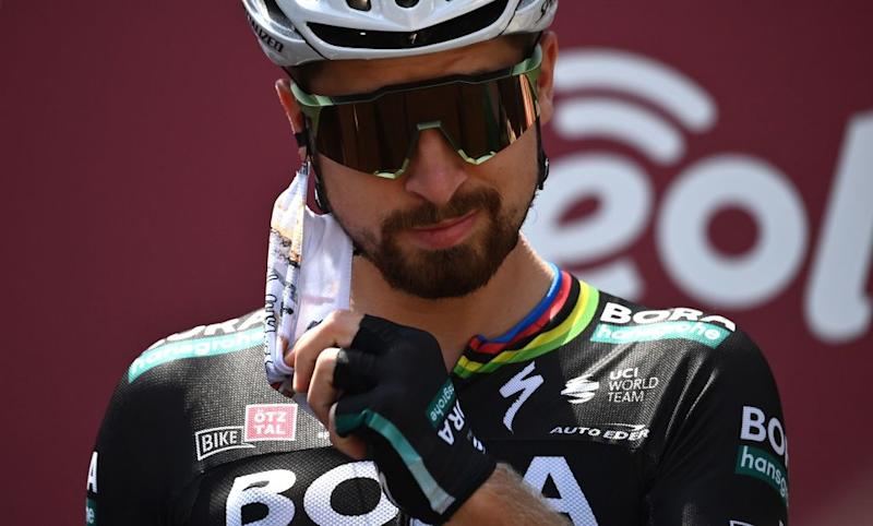 BORA hansgrohe Slovakia rider Peter Sagan take out the face mask prior the start of the oneday classic cycling race Strade Bianche White Roads on August 1 2020 in Siena Tuscany Photo by Marco BERTORELLO AFP Photo by MARCO BERTORELLOAFP via Getty Images