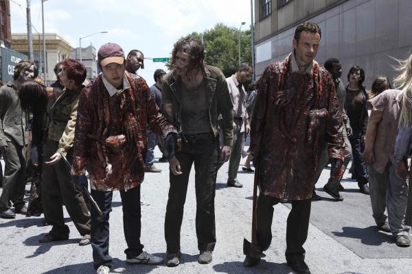 Rick and Glenn Walking with Zombies on Season One The Walking Dead