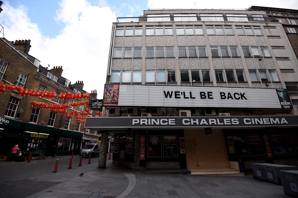 LONDON, UNITED KINGDOM - MARCH 31: A general view of the Prince Charles cinema in Leicester Square on March 31, 2020 in London, England. British Prime Minister, Boris Johnson, announced strict lockdown measures urging people to stay at home and only leave the house for basic food shopping, exercise once a day and essential travel to and from work. The Coronavirus (COVID-19) pandemic has spread to at least 182 countries, claiming over 10,000 lives and infecting hundreds of thousands more. (Photo by Kate Green/Anadolu Agency via Getty Images)