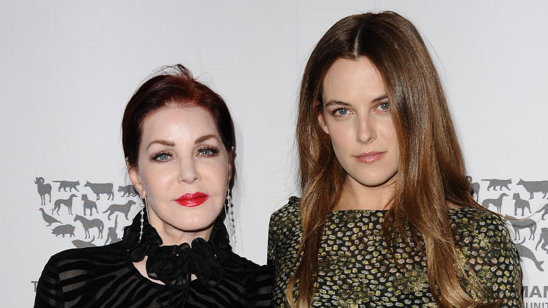 Priscilla Presley and Riley Keough attend a Humane Society gala at Paramount Studios on May 07, 2016. (Photo by Jason LaVeris/FilmMagic)