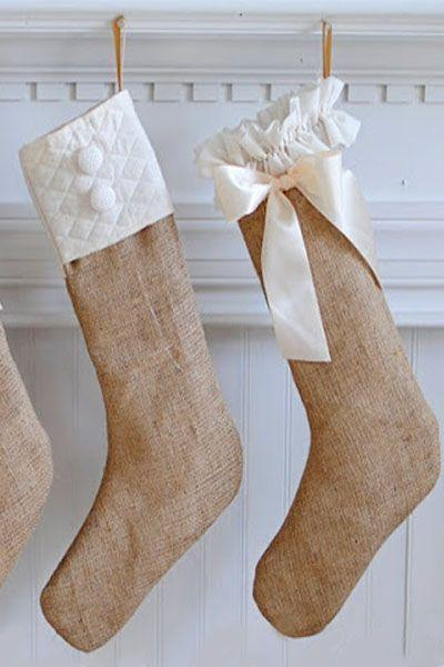"<p><a rel=""nofollow"" href=""https://www.womansday.com/home/crafts-projects/how-to/g299/decorative-holiday-crafts-100780/"">Grab the kids</a> and have them help you string together these elegant burlap stockings. </p><p><strong>Get he tutorial at <a rel=""nofollow"" href=""https://dearlilliestudio.com/another-quick-christmas-project-and/"">Dear Lillie</a>.</strong></p><p><strong>What you'll need: </strong>Burlap ($6, <a rel=""nofollow"" href=""https://www.amazon.com/Natural-Burlap-Fabric-Yard-Wide/dp/B01C7ZSLQ0/"">amazon.com</a>)<strong><br></strong></p>"