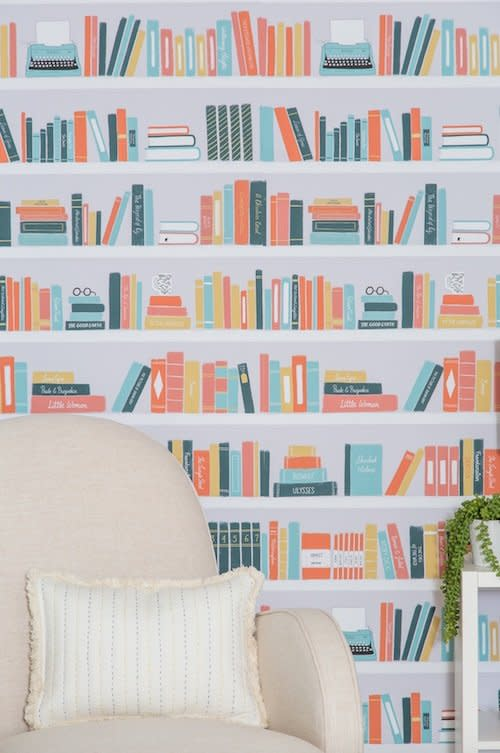 <p>The perfect accent wall behind your beloved reading chair? Just add this removable wallpaper featuring some literary classics. Designed by Out of Print, Penguin Random House's literary lifestyle brand, the shelves of books feature titles like <em>The Age of Innocence</em> and <em>To the Lighthouse. </em></p> <p>You can order the pattern in multicolor, purple, or blue, so you can be sure it coordinates with the rest of your decor. </p>
