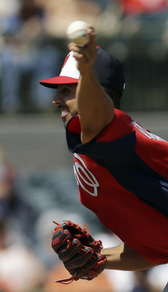 Washington Nationals pitcher Gio Gonzalez throws against the Houston Astros during the first inning of an exhibition spring training baseball game Thursday, March 7, 2013, in Kissimmee, Fla. (AP Photo/David J. Phillip)