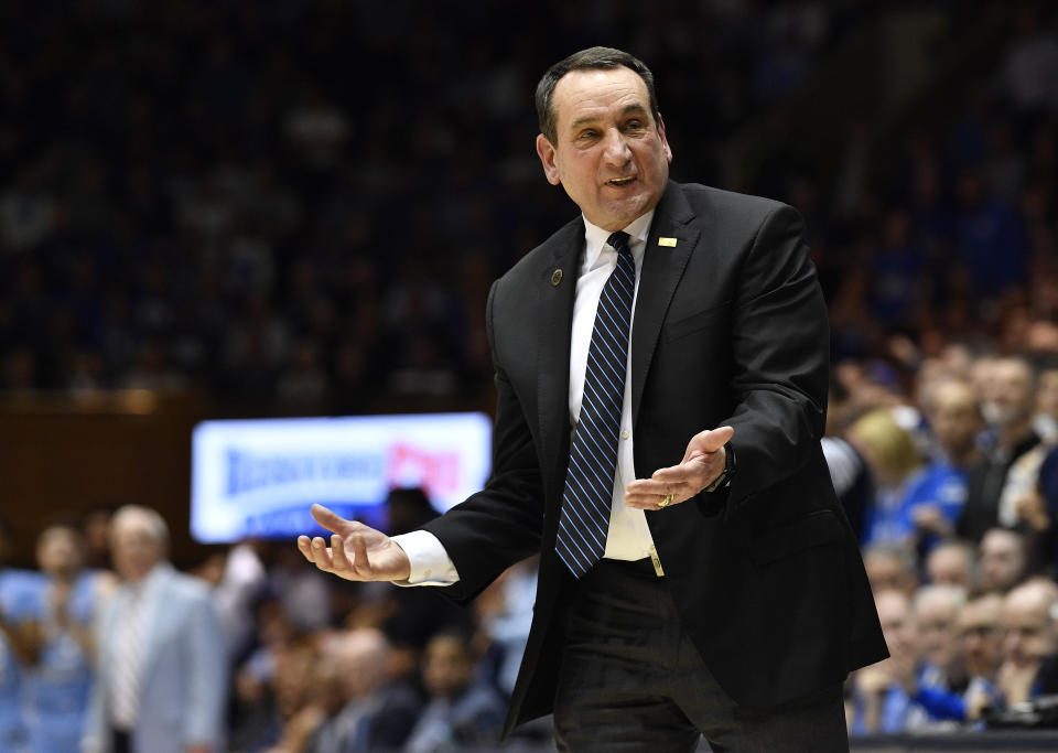 Mike Krzyzewski of the Duke Blue Devils reacts during the second half of their game against North Carolina on March 07, 2020. (Grant Halverson/Getty Images)