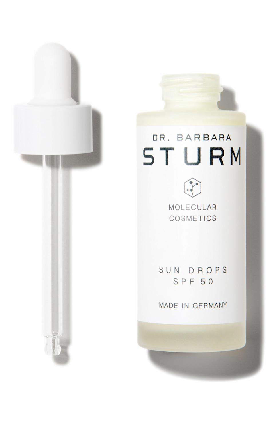 """<p><strong>Dr. Barbara Sturm</strong></p><p>nordstrom.com</p><p><strong>$145.00</strong></p><p><a href=""""https://go.redirectingat.com?id=74968X1596630&url=https%3A%2F%2Fwww.nordstrom.com%2Fs%2Fdr-barbara-sturm-sun-drops-serum-spf-50%2F4699364&sref=https%3A%2F%2Fwww.townandcountrymag.com%2Fstyle%2Fbeauty-products%2Fg27889502%2Fbest-face-sunscreen%2F"""" rel=""""nofollow noopener"""" target=""""_blank"""" data-ylk=""""slk:Shop Now"""" class=""""link rapid-noclick-resp"""">Shop Now</a></p><p>This feather light serum can be mixed in with moisturizer or with foundation to create a protective shield without loading up on product.</p>"""