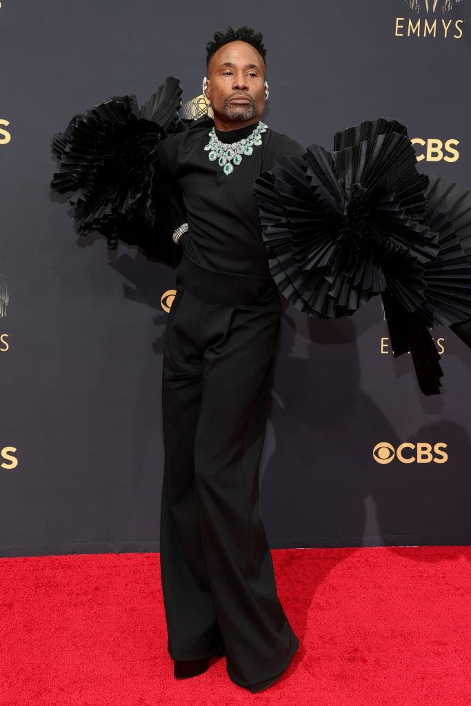 """<p>The """"Pose"""" star brought drama to the red carpet in an Ashi ensemble with over-the-top shoulder embellishments.<em> (Image via Getty Images)</em></p>"""