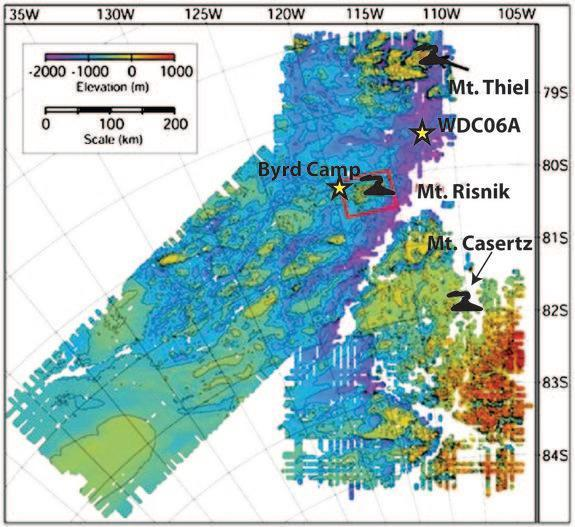A map showing the deep West Antarctic divide ice core, the Byrd ice core and the location of three subglacial volcanoes.