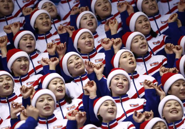 Short Track Speed Skating Events - Pyeongchang 2018 Winter Olympics - Women's 1000m Competition - Gangneung Ice Arena - Gangneung, South Korea - February 20, 2018. North Korean cheerleaders before the start. REUTERS/Damir Sagolj