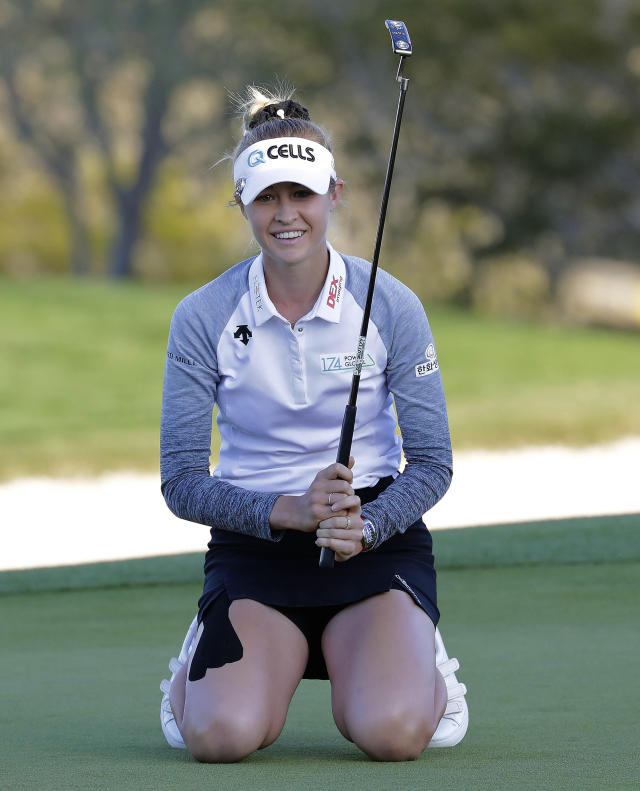 Nelly Korda reacts to missing birdie on the 18th green during the final round of the Founders Cup LPGA golf tournament, Sunday, March 24, 2019, in Phoenix. (AP Photo/Matt York)
