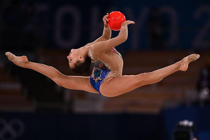 <p>Israel's Linoy Ashram competes in the individual all-around final of the rhythmic gymnastics event.</p>