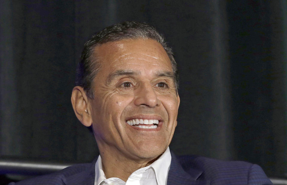 FILE - In this March 8, 2018, file photo, California gubernatorial candidate Antonio Villaraigosa discusses the state's housing problems at a conference in Sacramento, Calif. The potential ascendancy of Sen. Kamala Harris to the vice presidency next year has kicked off widespread speculation about who might replace her if Democrats seize the White House. California Gov. Gavin Newsom is already being lobbied by hopefuls and numerous names are emerging in the early speculation. Villaraigosa, a one-time Newsom rival for governor who considered running for Senate in 2015, has a national profile. (AP Photo/Rich Pedroncelli, File)