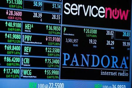 Screen displays the name of music streaming company Pandora on the floor of the New York Stock Exchange shortly after the start of trading in New York