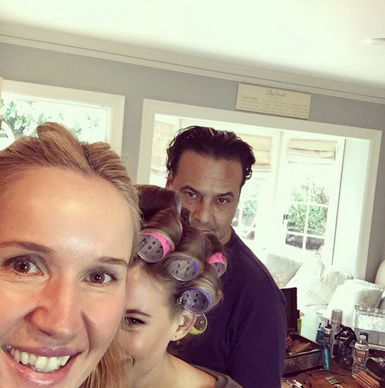 Though you can barely see her, a glam squad posted a majorly sneak peek behind the scenes picture of Behati Prinsloo, who accompanied her husband, Adam Levine, a presenter at the Golden Globes. @monikablundermakeup/Instagram