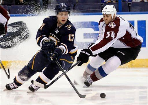 St. Louis Blues' Vladimir Sobotka, of the Czech Republic, and Colorado Avalanche's Daniel Winnik, right, chase after a loose puck during the second period of an NHL hockey game Saturday, Jan. 7, 2012, in St. Louis. (AP Photo/Jeff Roberson)